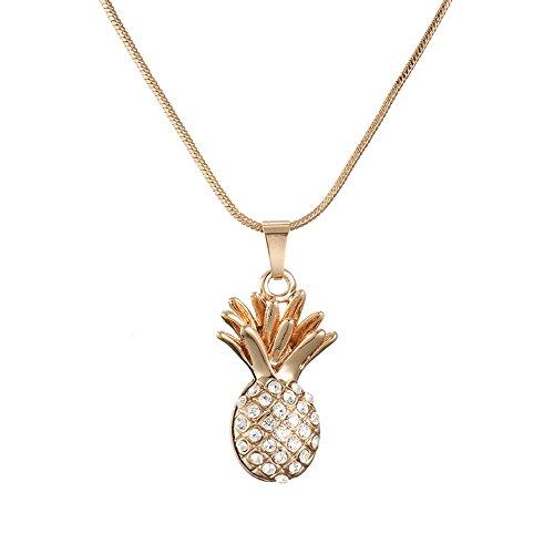 Ouran - Collana lunga da donna, con ciondolo a forma di ananas, idea regalo per ragazze, in oro o argento, con cristalli CZ e Oro rosa, cod. XL-0229