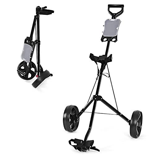 COSTWAY 2-Rad Golftrolley klappbar, Golfwagen mit Anzeigetafel, Schiebewagen Metallrahmen, Golf Push Cart, Golfcaddy schwarz