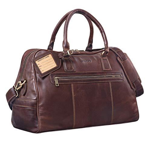 STILORD Weekender 'Dakota' / bagaglio a mano/Borsa a tracolla da viaggio/classica Sport Retro vera pelle, Colore:cognac marrone scuro