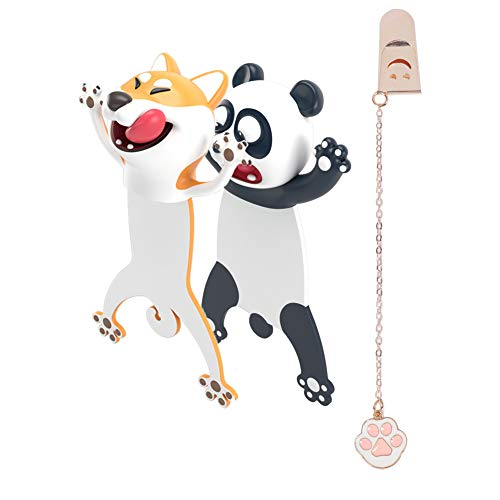 4PCS Wacky Bookmark Palz-3d Stereo Kawaii Cartoon Bookmark, 3D Animal Wacky Bookmarks, Christmas Birthday Party Favors Gift for Kids Students (Panda Shiba Inu paw)