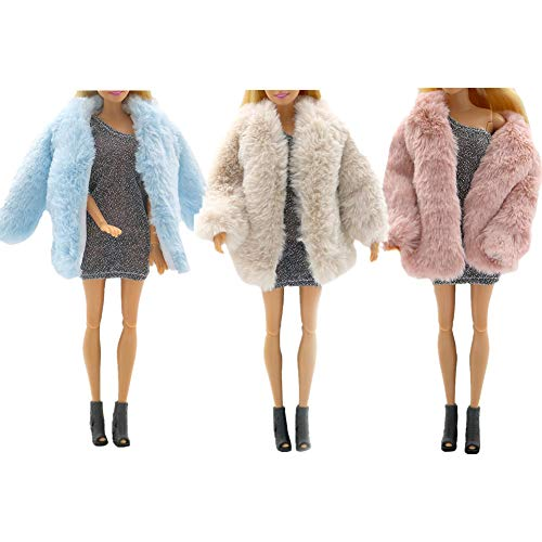 3 PCS Multicolor Langarm Weiche Kunstpelz Plüsch Mantel Flanell Outfit Tops Jacke Kleid Winter Warme Accessoires Kleidung Freizeitkleidung für Barbie 11,5 Zoll Puppe Kinderspielzeug