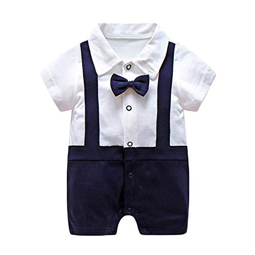 Neugeborenes Baby Jungen Gentleman Strampler Bodys Einteiler Formale Fliege Kragen Kurzarm Polo Anzug Kurz Overall Bodysuit 0-12M