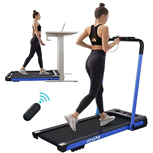 LIVSPO 2 in 1 Under Desk Treadmill - 2.5 HP Folding Treadmill for Home, Installation-Free Foldable Treadmill Compact Electric Running Machine, with LED Display Walking Running Jogging for Home Office