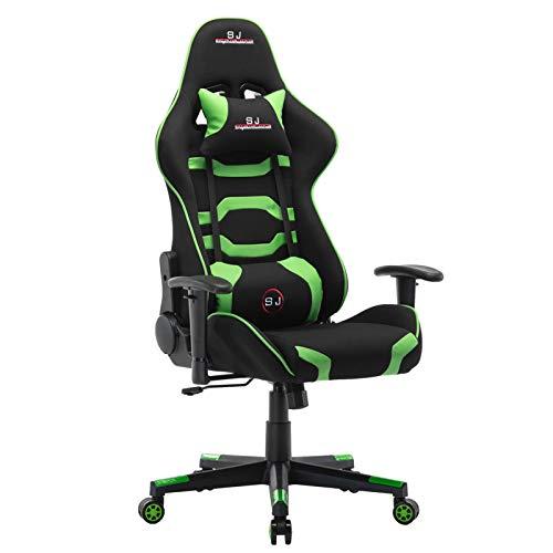 Sedia da gioco per ragazzi, sedia girevole da ufficio, per videogiochi, sedia da ufficio per X Rocker Dxracer Xrocker Umi Gaming, sedie per computer, colore: verde