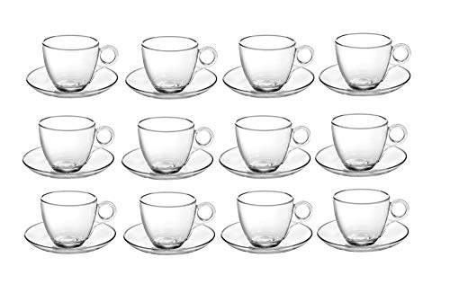 Treo by Milton Vella Cup and Saucer, Transparent, Set of 12