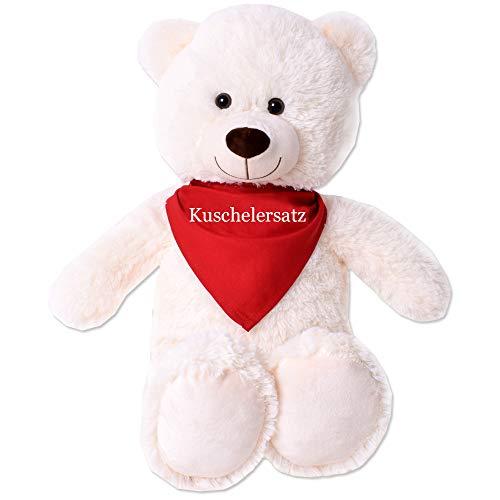 TE-Trend XL Plüsch Teddybär Riesen Teddy Kuscheltier Kuschelteddy Bär 80cm beige Plüschbär sitzend Kuschelersatz