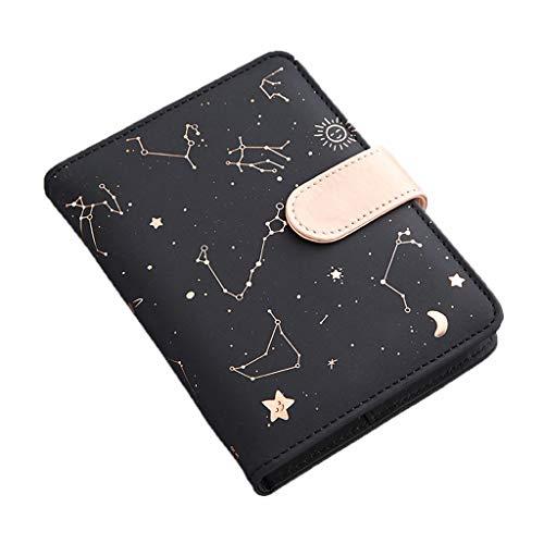 Ixkbiced Cuaderno de piel sintética con diseño de estrella estrellada y luna