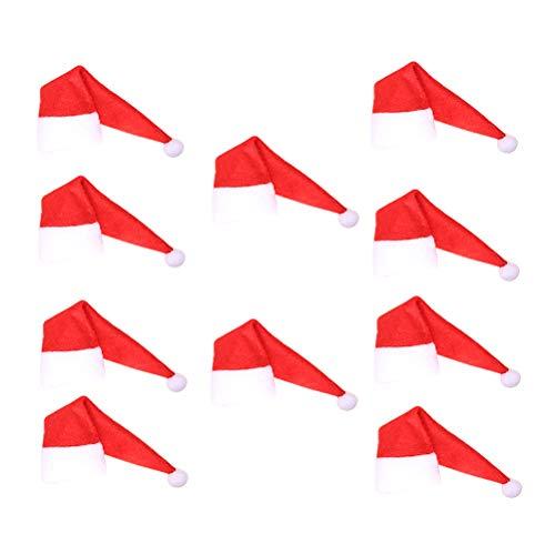 Amosfun 10 Stück Weihnachtsmann-Weinflaschen-Abdeckung, Mini-Weihnachtsmütze, Party-Dekorationen für Lollipop, Süßigkeiten, Bier, Weinflaschen
