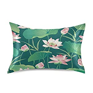 Satin Pillowcase Bedside Pillow Cases Silk Pillowcasecushion Throw Pillows Lotus Flowers Luxury Soft Pillow Covers Protectors Home Decorative with Envelope Opening for Adults