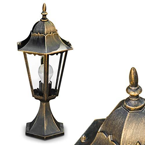 Außenleuchte Hongkong, Sockelleuchte in antikem Look, Aluguß in Braun/Gold mit Klarglas-Scheiben, Wegeleuchte 49 cm, Retro/Vintage Gartenlampe, E27-Fassung, max. 100 Watt, IP44