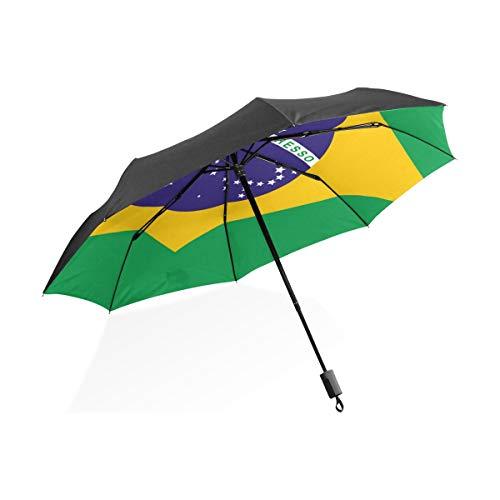 FANTAZIO Reiseschirm Flagge Brasilien Sonnen-/Regenschirm