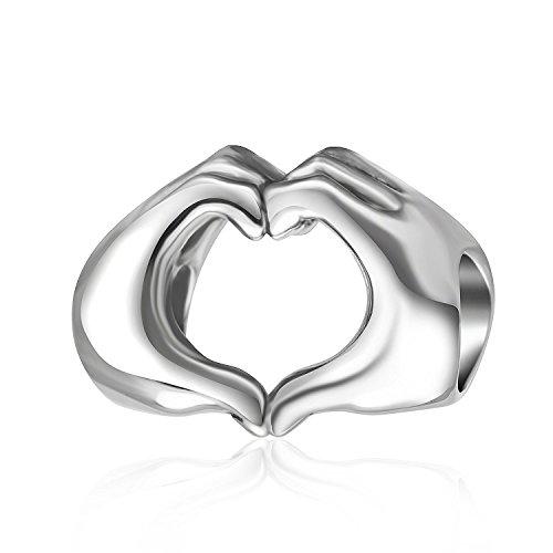 Plata de Ley 925amor corazón en las manos Charm para abalorios pulseras, día de San Valentín regalos Idea