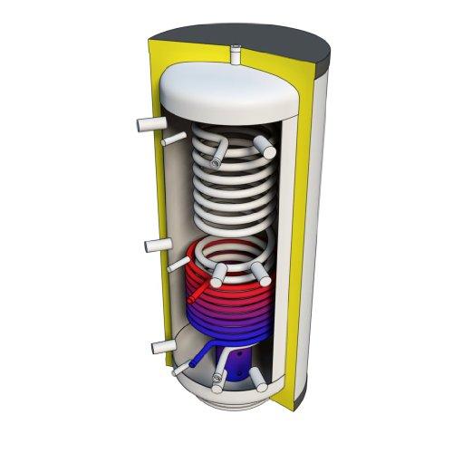 Hygienespeicher 800 Liter mit Solarwärmetauscher und Edelstahlwellrohr