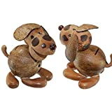 kenai Handgefertigter Kokos Hund, Hund Sparbüchse, Spardose Wuff aus Kokosnuss + Holz, Handcrafted Deco Dog, Money Box Doggy from Coconut + Wood
