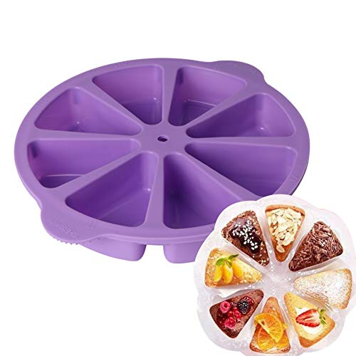1 Pack Silicone Baking Molds Triangle Cake Pan DIY 8 Cavity Portion Cake Mold Pizza Slices Pan for Kitchen Baking Tool(Purple)