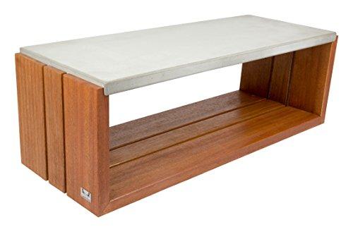 CARVIDO Couchtisch und Loungetisch Beton mit Bangkirai/Betonmöbel/indoor/outdoor, Ponto, natur, 104x40x35 cm, 404