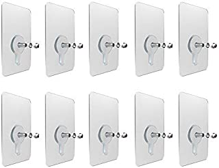 ZHANGLI 10pcs/Pack Screws Hanger No Hole Hook Home Traceless Sticker Wall Mounted Strong Non-Marking Stickers Perforated S...