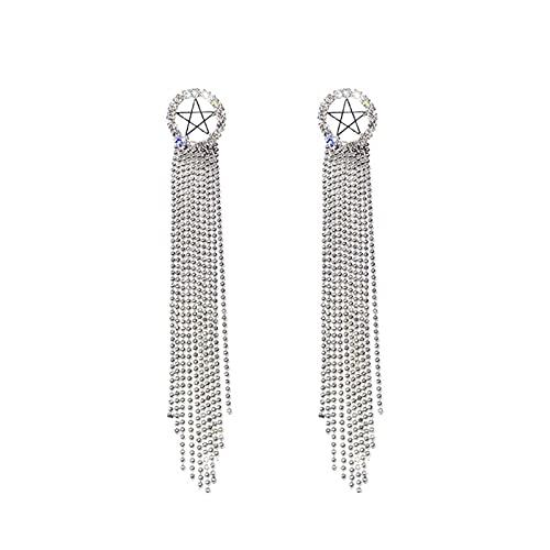 QIN Diseño de Estrella Hueca Perlas Borla Pendientes Colgantes Joyería de Moda Pendiente Colgante Pendientes Largos
