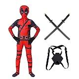 WQLESO Disfraces de Cosplay de Deadpool para Adultos para niños, Mono con Estampado 3D de superhéroe, Viene con Mochila de utilería,Deadpool-145~155cm