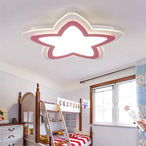 WJLL Moderno LED Lámpara de Techo Cuarto de los Niños Luz de Techo Regulable con Control Remoto Forma de Estrella Diseño Plafón de Dormitorio de Niña/Chico Iluminación Acrílico Pantalla,Rosado,52cm
