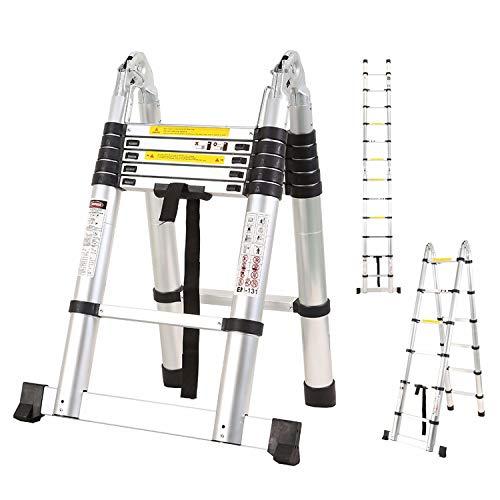 Scala Doppia 6+6 Telescopica in Alluminio Gradino 2x6 Altezza 1,87-3,8 Metri