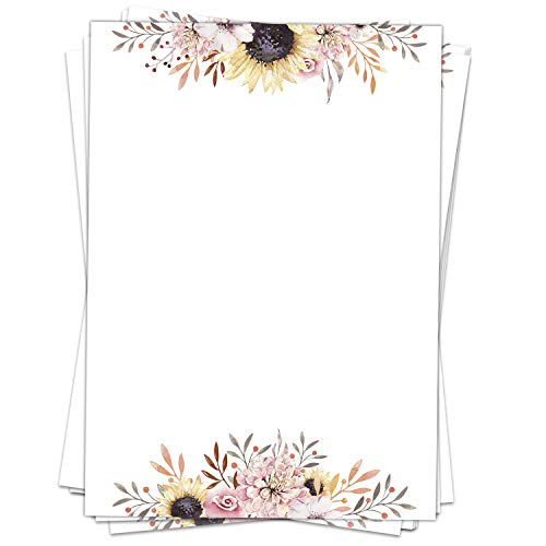 Briefpapier Design-Motiv Sonnenblumen Blumen - 50 Blatt, DIN A4 Format, Bastel-Papier beidseitig bedruckt