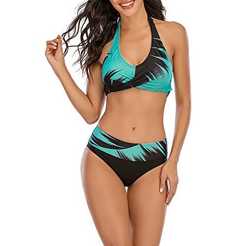 Zweiteiliger Neckholder Bikinioberteil Strandmode Badeanzüge Anzug Damen Drucken Bauchweg Figurformend Bikini Set Strand Swimsuits mit Slip Badeshorts Badebekleidung (A-Grün, 5XL)