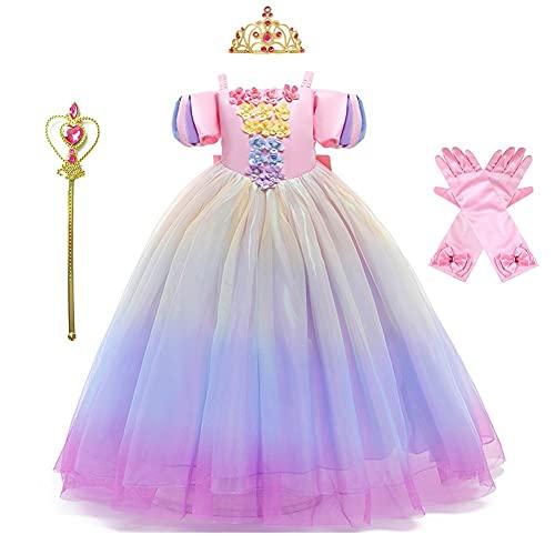 MYRISAM Girls Aurora Princess Dress Sleeping The Beauty Halloween Costume Rainbow Birthday Christmas Party Fancy Outfits w/Accessories 6-7T