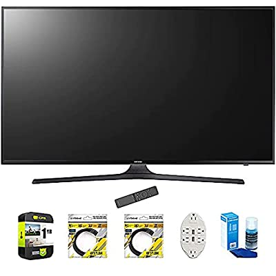 """Samsung 50"""" 4K Ultra HD Smart LED TV 2017 Model (UN50MU6300) with 2x 6ft High Speed HDMI Cable, Transformer Tap USB w/ 6-Outlet, Screen Cleaner for LED TVs & 1 Year Extended Warranty"""