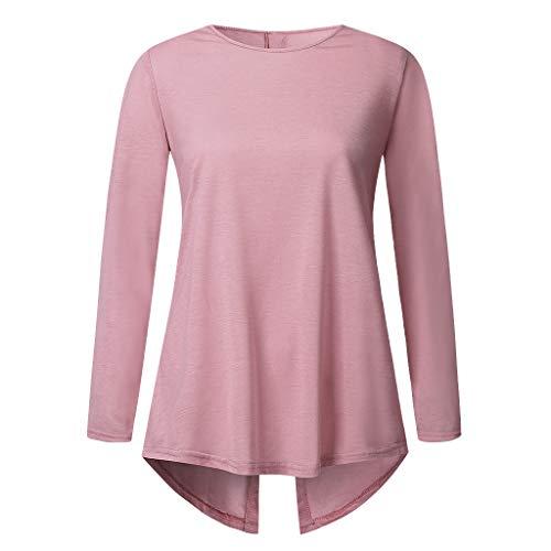 TEFIIR T-Shirt mit Knopf Damen Nähte Farbe Manschette Unregelmäßiger Saum Pullover Volltonfarbe Anzug Rundhals Langarmjacke Casual/Business Shirt
