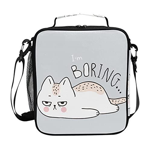 AJINGA Bolsa de almuerzo con diseño de gato aburrido con diseño de dibujos animados para niños, con correa para el hombro, para niños y niñas y mujeres