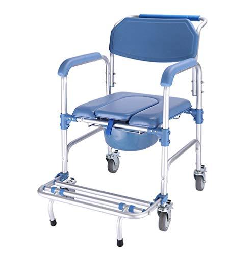 HD-Dreamer Kommode Rollstuhl Gepolsterte Dusche & WC-Sitz, Badezimmer Rollen Klappstuhl Für Ältere Schwangere Und Behinderte, 4 Radbremsen, 360 °, Aluminiumlegierung Wasserdicht