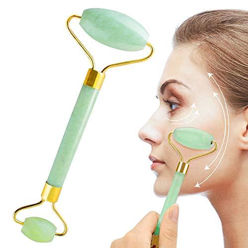 Jade Roller, Jade Roller Massager, Jade Massage Stone Anti Aging, Masseer je gezicht en verbeter je huidverzorging Routine 100% natuurlijke Jade Stone