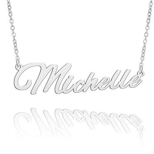 BUREI Name Necklace Big Initial Silver Best Friend Jewelry Women Gifts for Her Michelle
