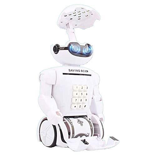 Akemaio Divertido Multi-Función ATM Contraseña Robot Piggy Bank Música Lámpara de Mesa de Carga USB Portátil Plegable LED Lámpara de Mesa para Niños Leer