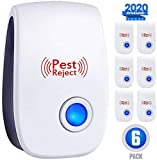Ultrasonic Plug in Pest Device Defender - Electronic Portable Pet S?fe 6 Pack - ?lectromagnetic Waves Ultrasound Control - R?p?llent for Mic? R?ts M?squitos Spid?rs R?dents Ins?cts - Indoor/Outdoor