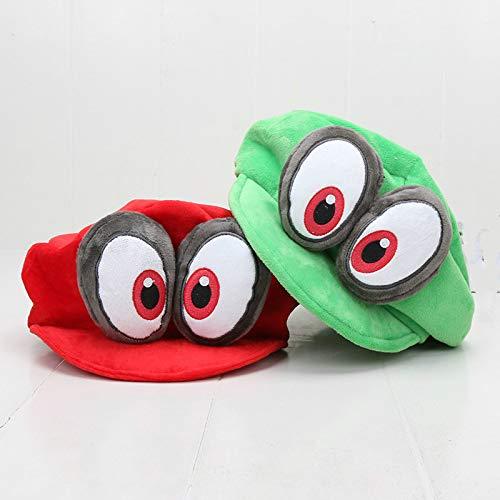 FENGHU Mario Sombrero 2pcs/Lote Pelu Bien Odisea Cappy Sombreros Bros Luigi Waluigi Wario Caps Soft Cosplay Adults Kids Party Accessories Toys