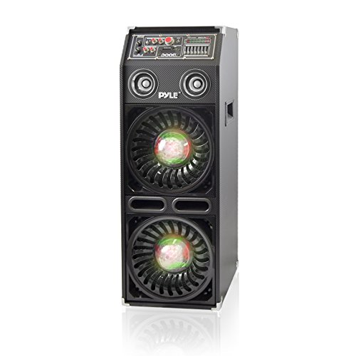 "PYLE-PRO AZPSUFM1068BT Disco Jam 2 Bluetooth Active Powered PA Speaker System Flashing DJ Lights Dual 10"" Woofers Dual 3"" Tweeters USB/SD Memory Card Readers Aux (3.5mm) Input 1200 W Black"