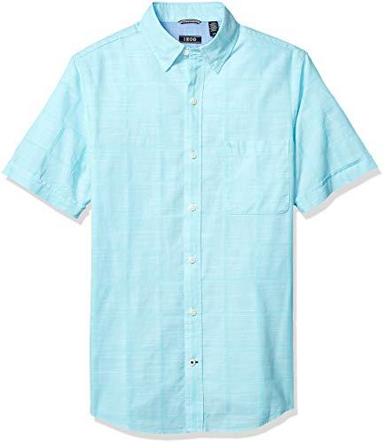 IZOD mens Saltwater Short Sleeve Windowpane Button Down Shirt, Blue Radiance, XX-Large US