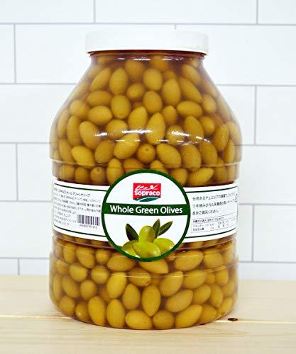 オリーブの実 SOPRACO(ソプラコ) 食用 種あり おつまみ (ホールグリーンオリーブ, 3900g)