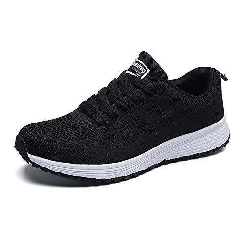 Scarpe da Ginnastica da Donna Scarpe da Corsa Scarpe Sportive Tennis Lavoro da Donna Sneakers Running Sports da Signora Leggero Traspirante Bianco Nero Taglia 38 EU
