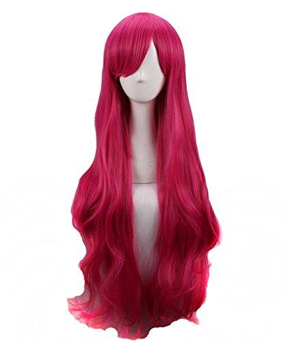 Women's Long Wavy Magenta Cosplay Wig Halloween Wig