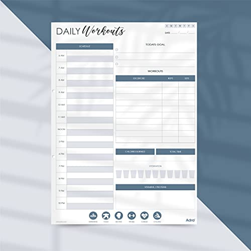 Adra Daily Fitness Planner | My Daily to Do List Organiser | Personal Planner Journal | Weekly Workout Planner | Tear Off Book | 8.25 x 11.25 Inches