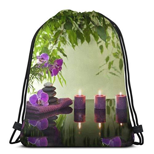 Valender Spa Stillleben Kerzen Orchideen Kordelzug Rucksack Reise Gymsack Kordelzug Rucksack Sackpack