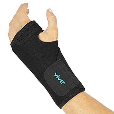 Vive Wrist Brace - Carpal Tunnel Hand Compression Support Wrap for Men, Women, Tendinitis, Bowling, Sports Injuries Pain Relief - Removable Splint - Universal Ergonomic Fit, One Size (Left)