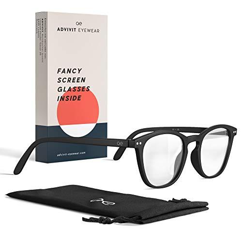 ADVIVIT Gafas originales unisex filtro luz azul | 2 colores sin fuerza | Gafas con filtroazul para pantalla del ordenador ligeras tinte – Evita vista cansada en la oficina