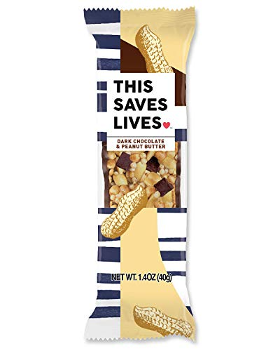 This Bar Saves Lives Chewy Granola Bars, Dark Chocolate Peanut Butter, 12 Pack   Gluten Free Snacks Breakfast Bars, Kosher, Non GMO Snack Bar for Adults & Kids   1.4 oz Bars