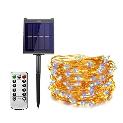 DZHT Luz solar al aire libre de las cuerdas de la leucorrea de la leucorrea cálida dimmable 11 M / 21m, conveniente para la luz de la fiesta de Navidad de la fiesta navideña de la fiesta de Navidad