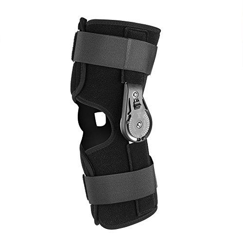 Órtesis de rodilla, soporte de correa de tobillo unisex Soporte de articulación de rodilla ajustable Soporte de ortesis Soporte de rodilla con bisagra universal para mujeres y hombres(S)