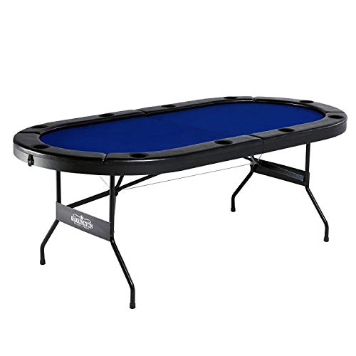 Barrington Texas Holdem Poker Table for 10 Players with Padded Rails & Cup Holders